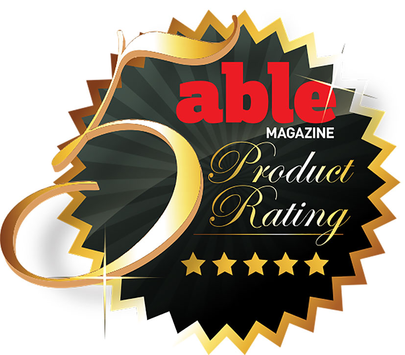 Able Magazine 5-star product rating badge