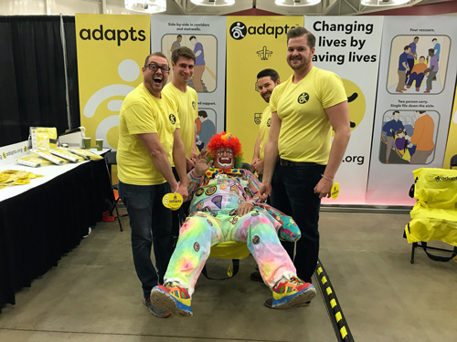 ADAPTS team lifting clown in ADAPTS sling