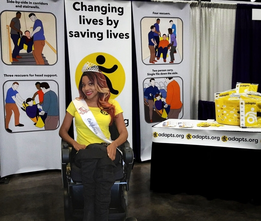 Krystina Jackson at the ADAPTS booth to talk about disaster planning