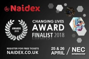 NAIDEX Changing Lives Award 2018 Finalist banner