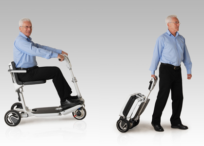 Man using ATTO, a portable mobility scooter